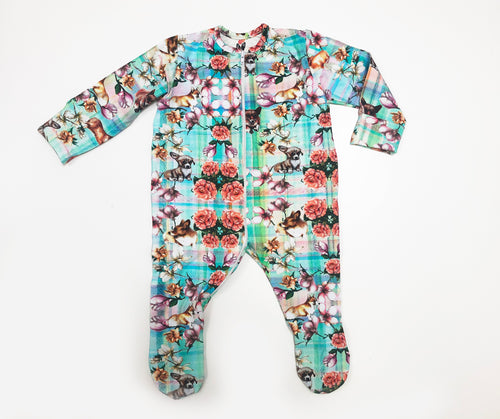 Amazing Zipper Tartan Flower Print Sleepsuit