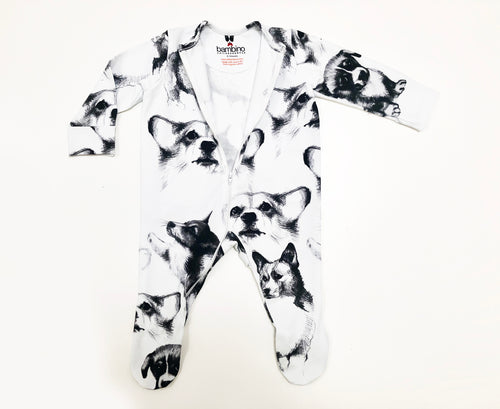 Zipper Corgi Sketches Print Sleepsuit