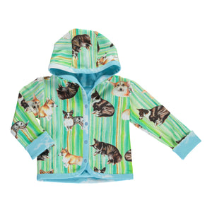 Reversible Jacket Corgi stripes (Green/Blue)