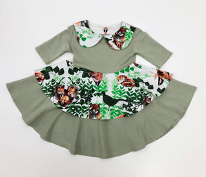 Peter Pan Collar Dress Playful Foxes