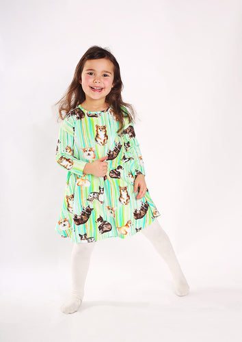 Corgi Stripes Print Dress