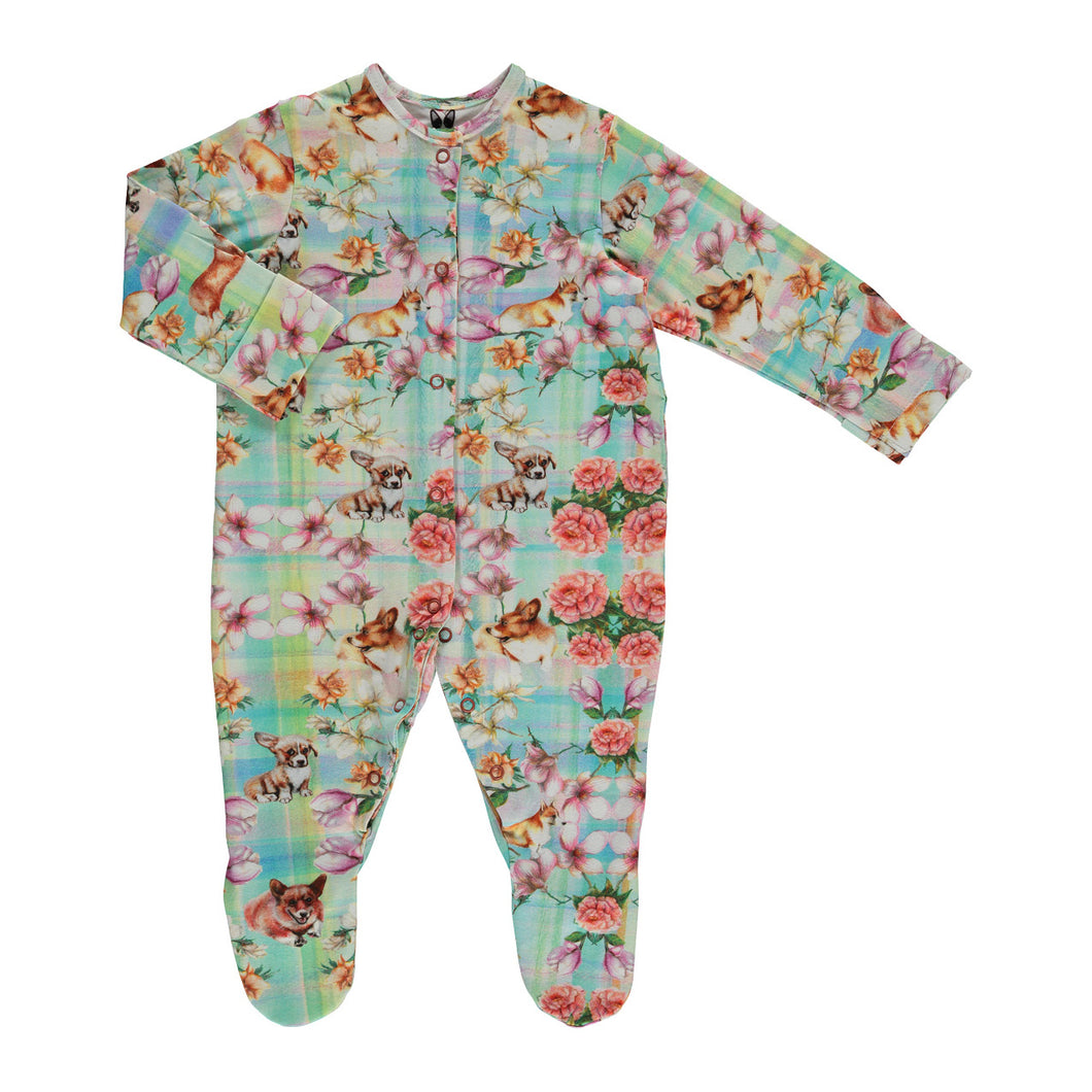 Corgi Stripes Print Sleepsuit