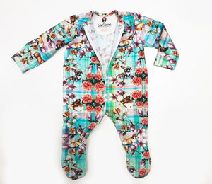 Zipper Tartan Flower Print Sleepsuit