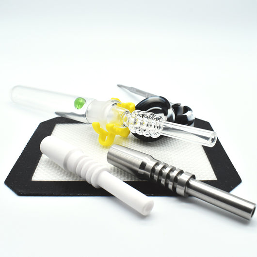 Glass Nectar Collector with Quartz, Titanium or Ceramic Tip - GreenWater Supply Co.