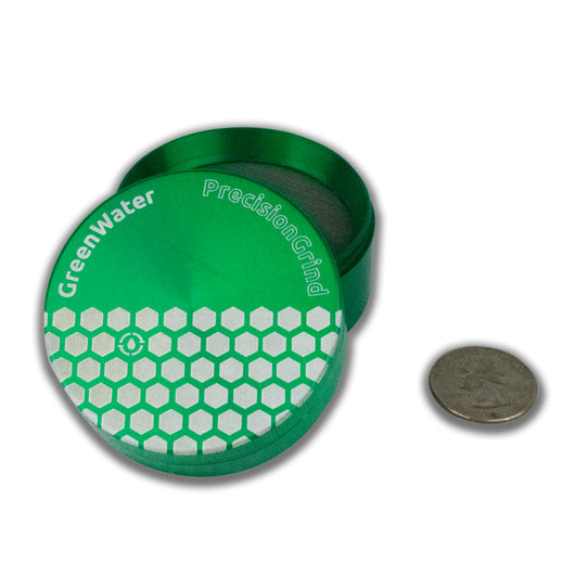 "Precision Herb Grinder 2.5"" (63mm) in Green and Black Aluminum - GreenWater Supply Co."