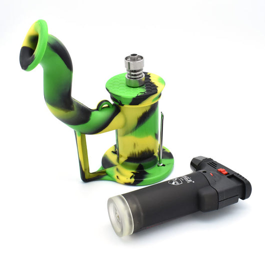 Silicone Water Pipe Dab Rig Bubbler with 10mm Nail - GreenWater Supply Co.
