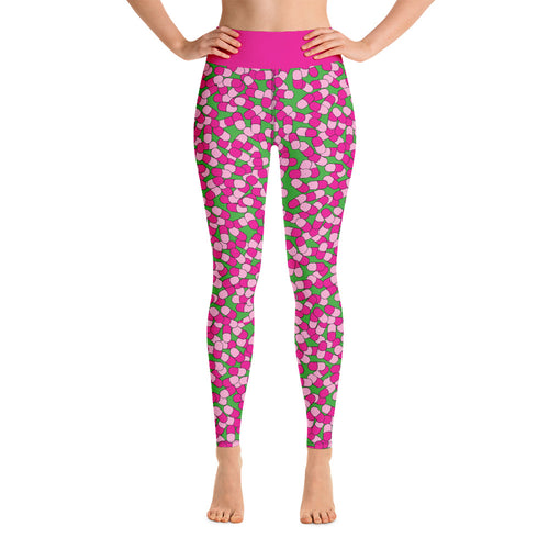 Happy Pill Print High Waist Yoga Leggings Fictional Character