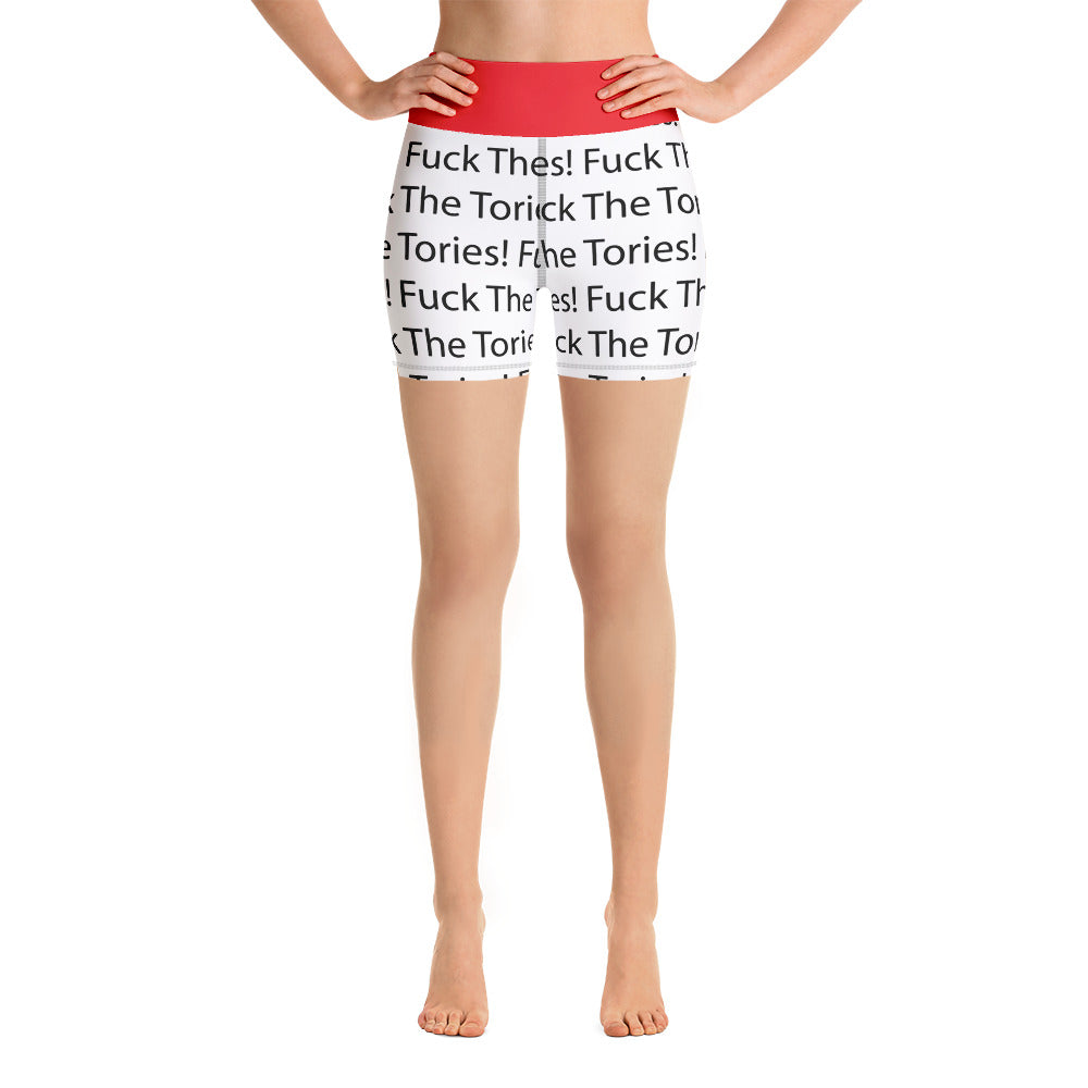 Fuck The Tories Yoga Shorts Red