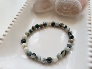 Tree Agate Crystal Bracelet, Stretch