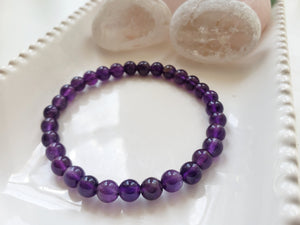 Amethyst Crystal Bracelet, Stretch