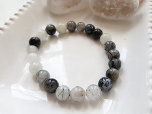 Tourmilated Quartz Crystal Bracelet, Stretch