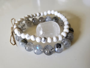 Labradorite and Howlite Crystal Bracelet set