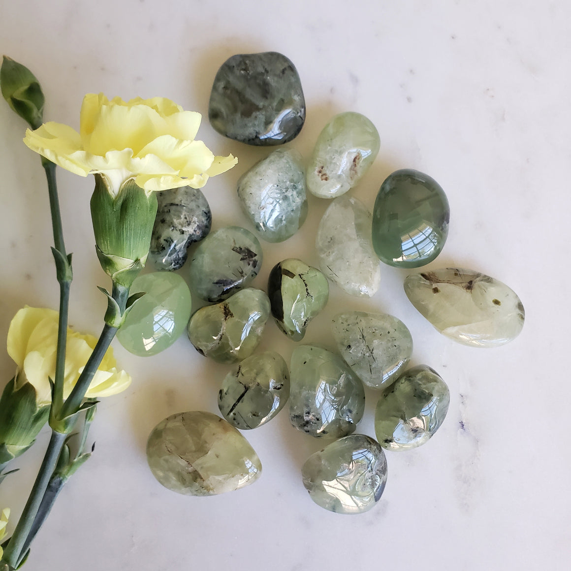 Prehnite Tumbled Stone, Set of 2