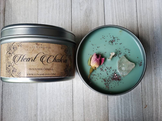 HEART CHAKRA Intention Tin Candle
