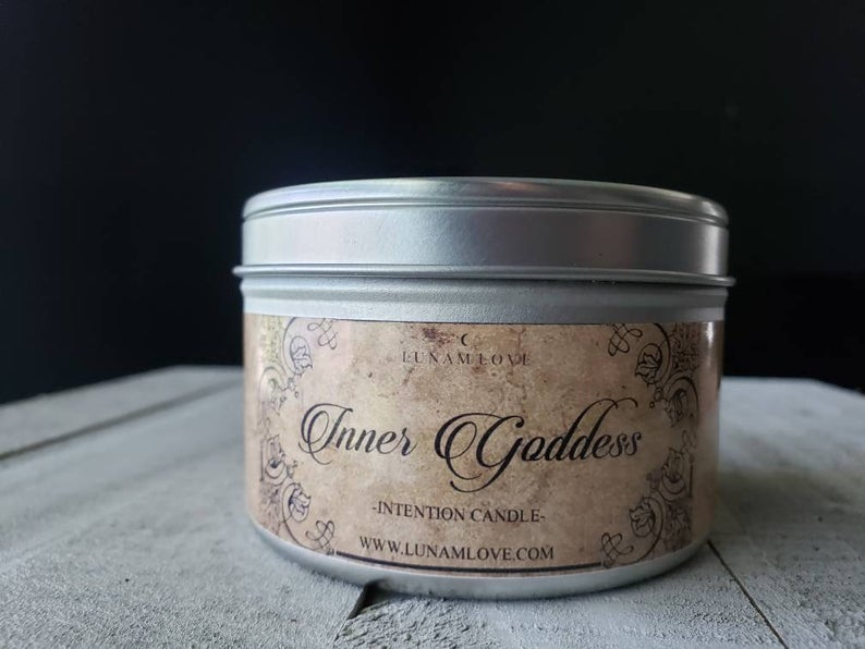 Inner Goddess Tin Candle