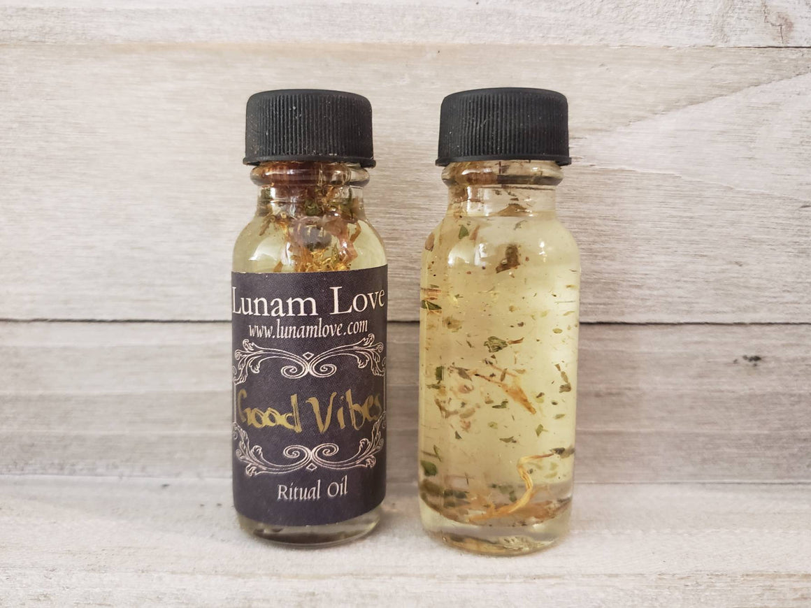 GOOD VIBES Ritual Oil // Happiness // Witchcraft // Witch // Metaphysical // Anointing Oil // Wicca // Pagan // Hoodoo // Conjure