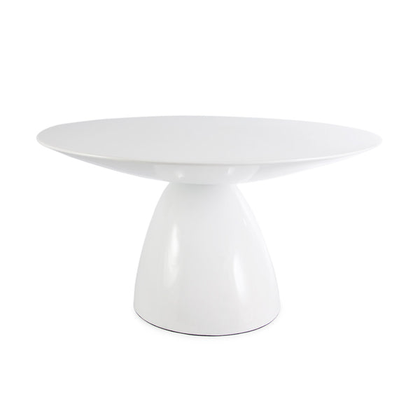 front view of the Aarnio Parabel Dining Table in white