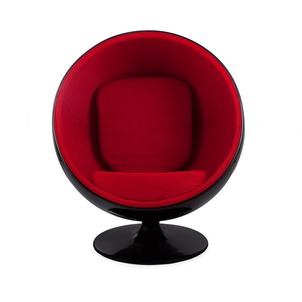 front view of the Aarnio Ball Globe Chair black and red