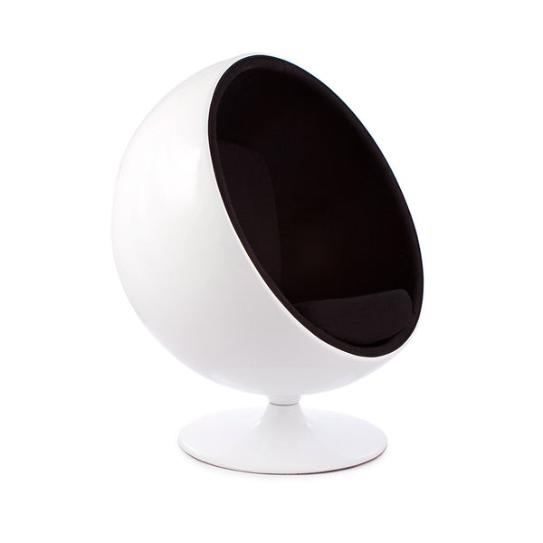 main view of the Aarnio Ball Globe Chair white and black