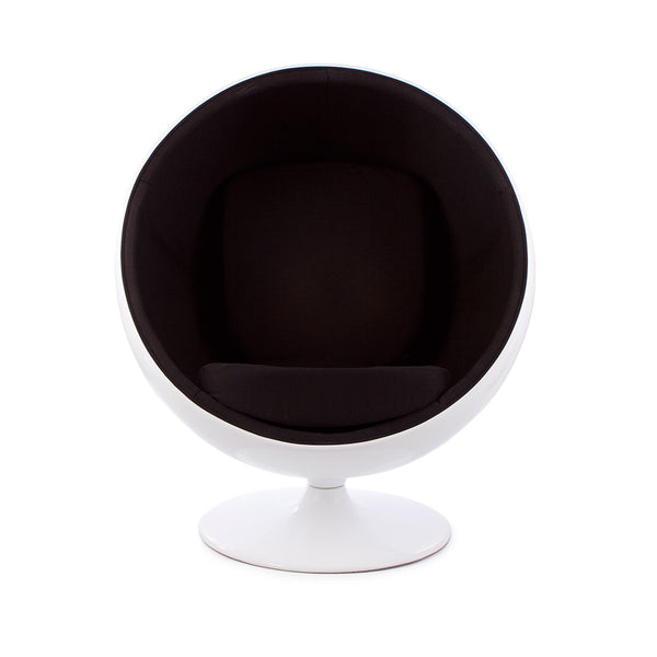 front view of the Aarnio Ball Globe Chair white and black