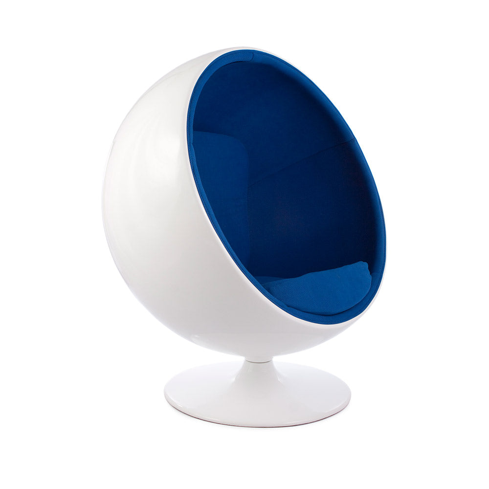 main view of the Aarnio Ball Globe Chair white and blue