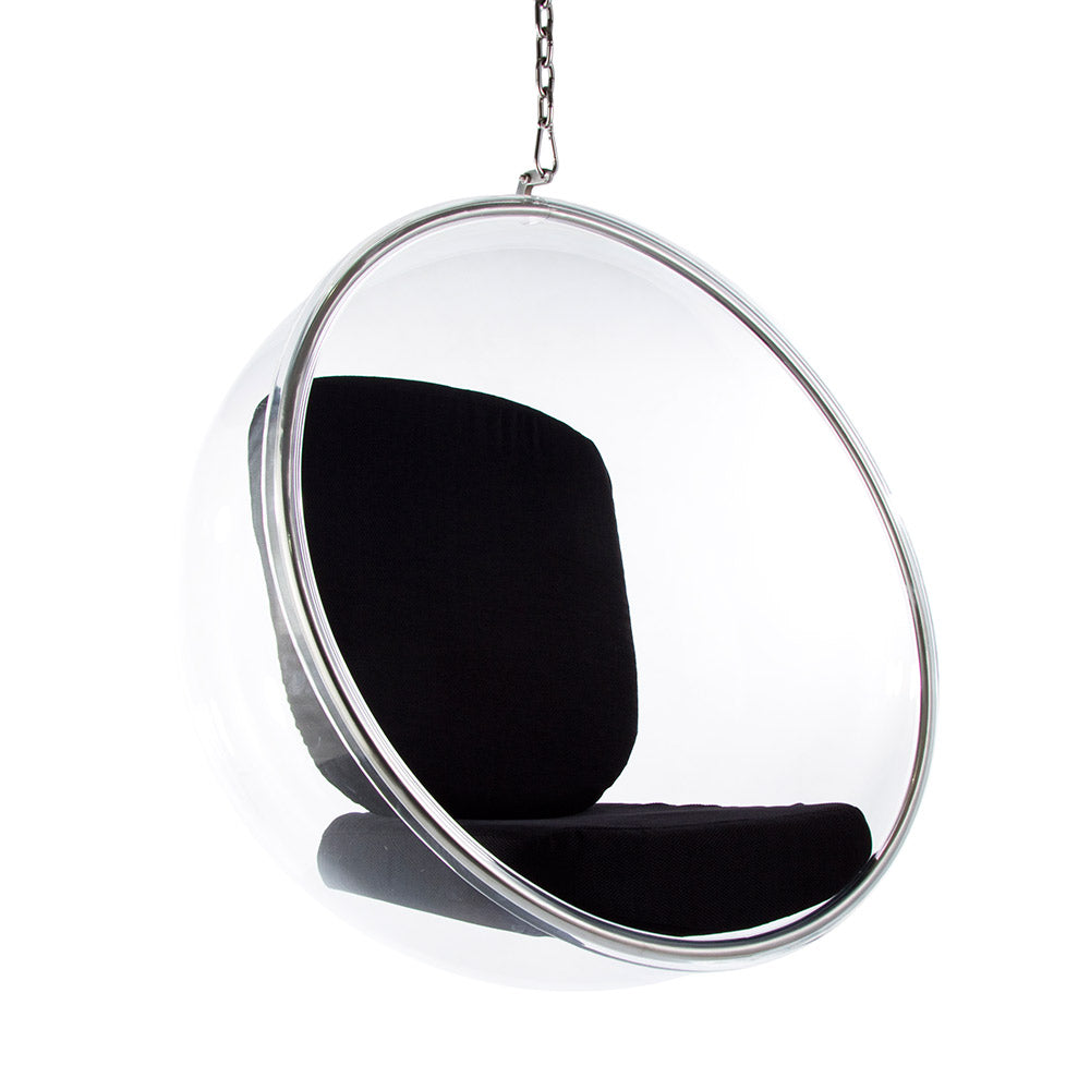 Main view of the Aarnio Bubble Chair with black cushion