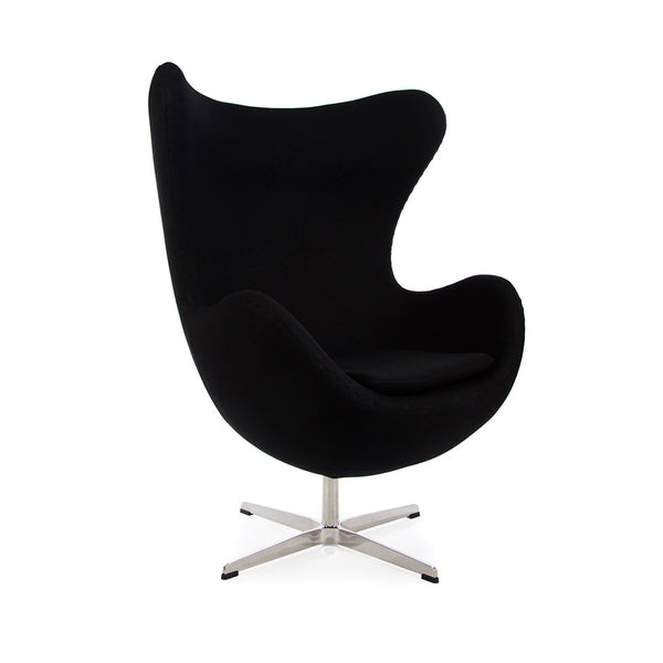 main view of the Arne Jacobsen Egg Chair in black Cashmere