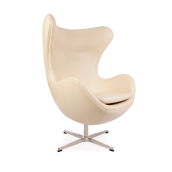 main view of the Arne Jacobsen Egg Chair in beige leather