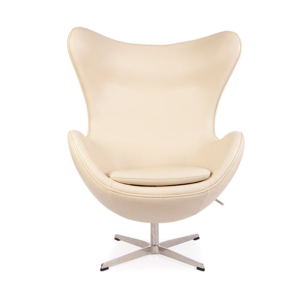 front view of the Arne Jacobsen Egg Chair in beige leather