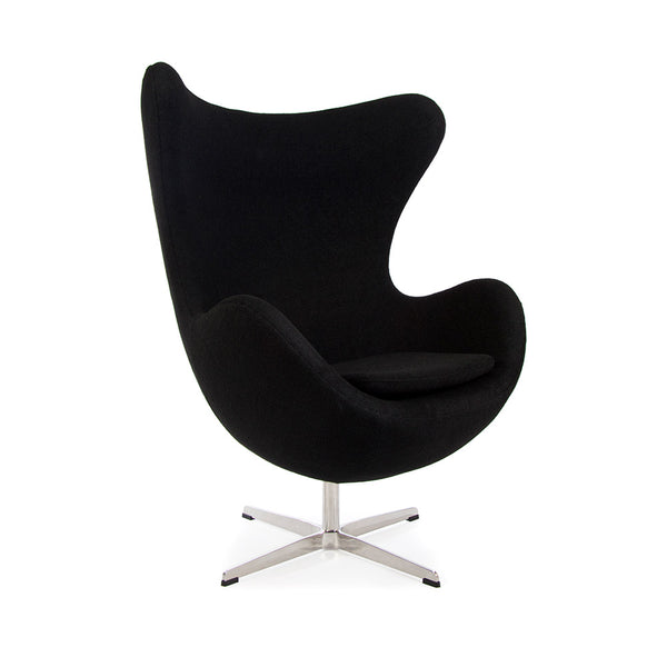 main view of the Arne Jacobsen Egg Chair in black wool