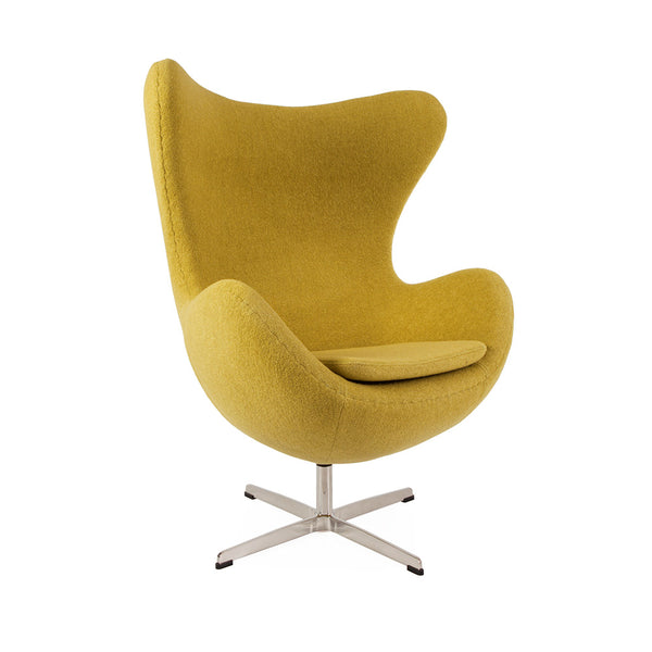main view of the Arne Jacobsen Egg Chair in mustard wool