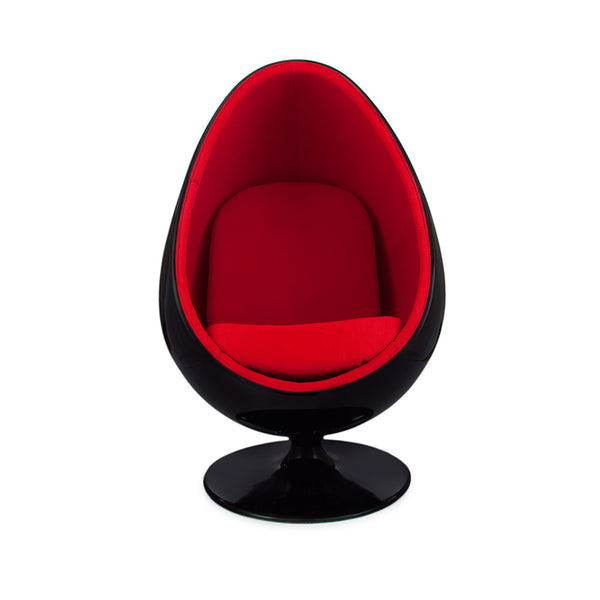 Ovalia Egg Pod Chair Replica - Black Shell & Red Weave Wool Interior