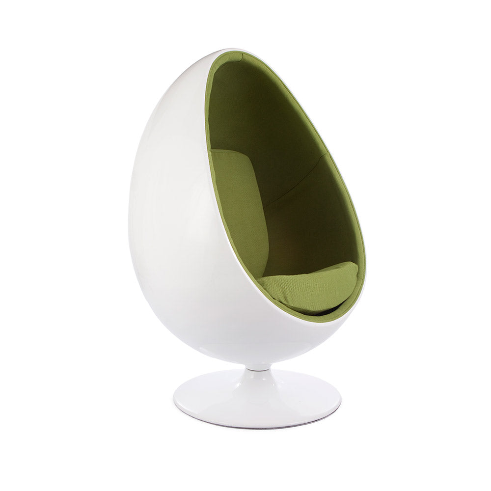 Ovalia Egg Pod Chair Replica - White Shell & Weave Wool Interior (5 Color Options)
