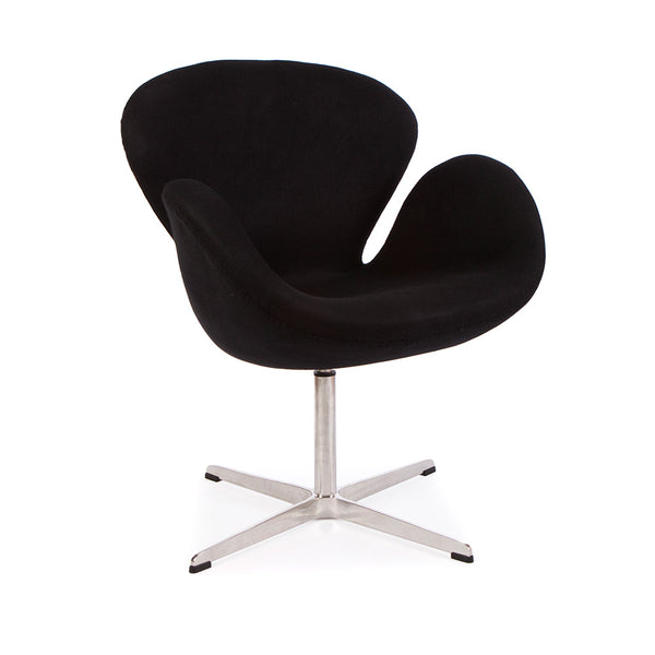 main view of the Arne Jacobsen Swan Chair in black cashmere