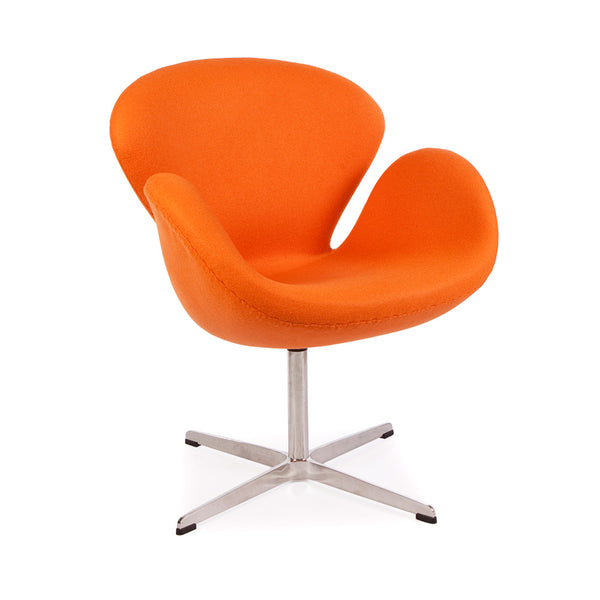 main view of the Arne Jacobsen Swan Chair in orange cashmere