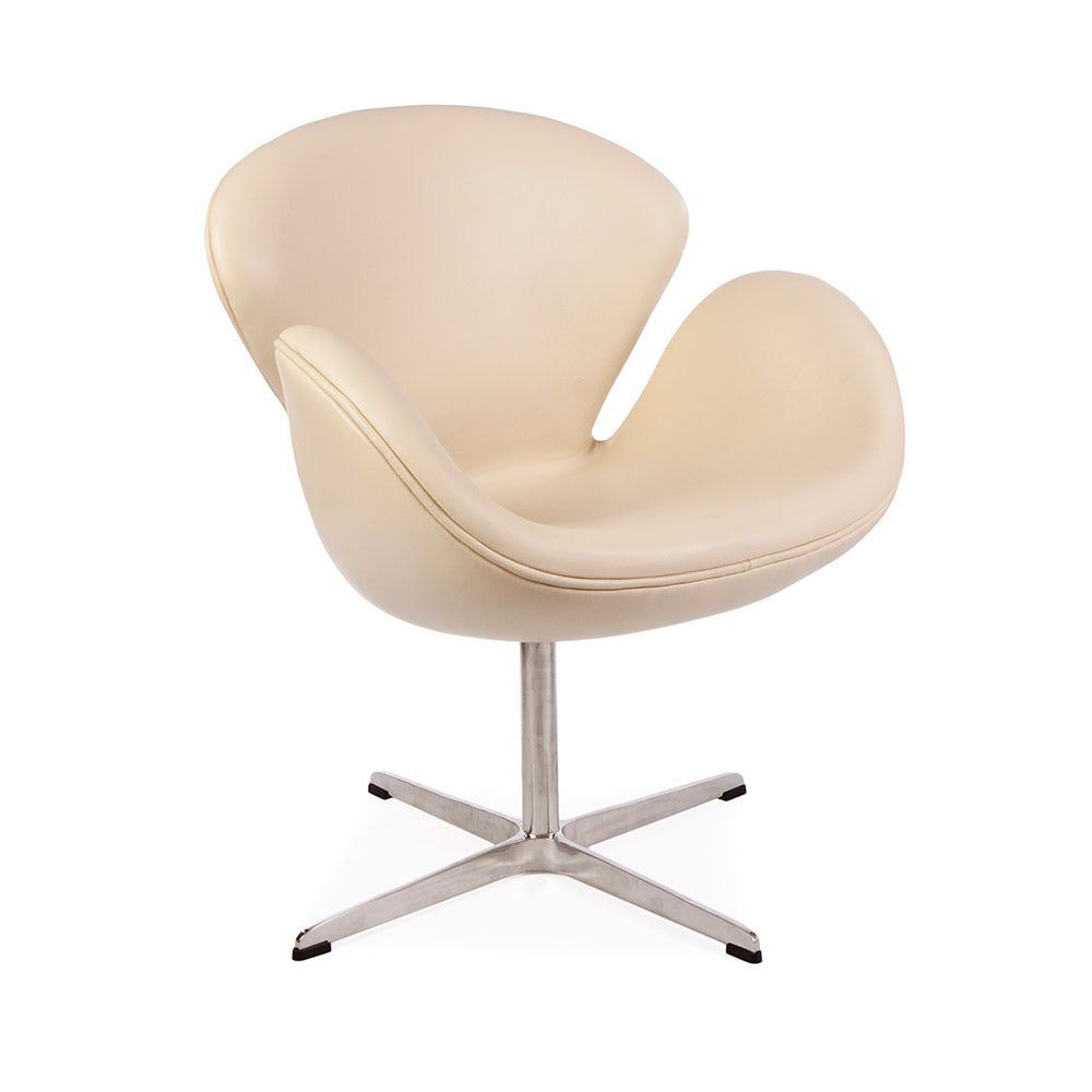 main view of the Arne Jacobsen Swan Chair in beige leather
