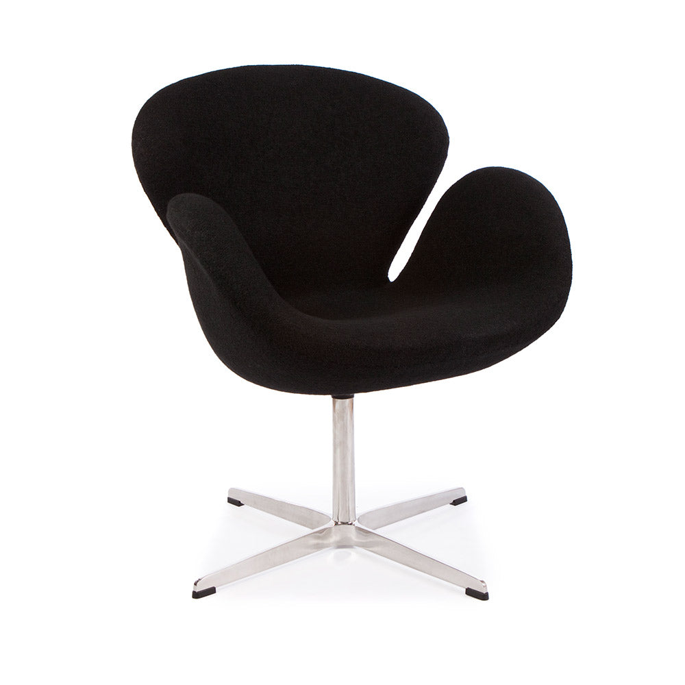 main view of the Arne Jacobsen Swan Chair in black wool