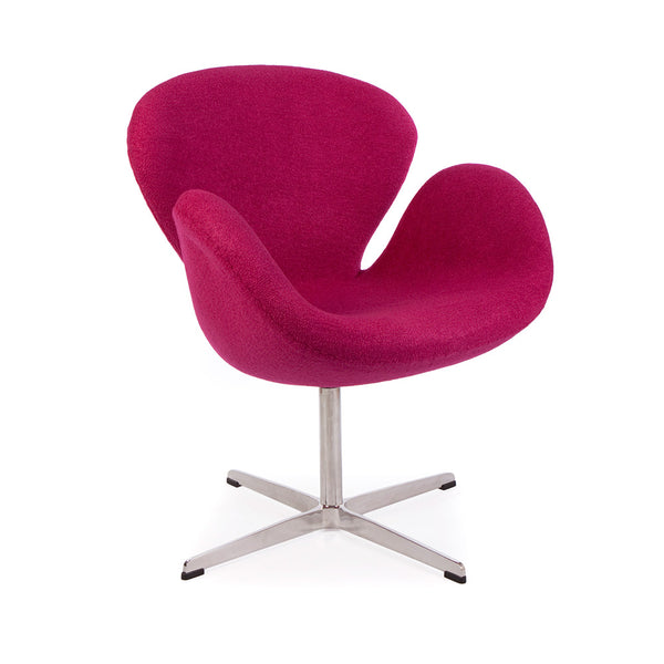 main view of the Arne Jacobsen Swan Chair in pink wool