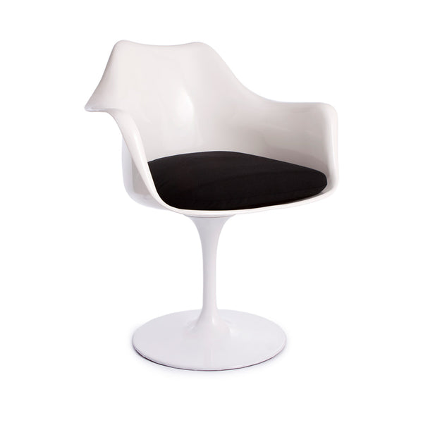 Saarinen Tulip Dining Chair Replica - Arm Chair White (3 Cushion Color Options)