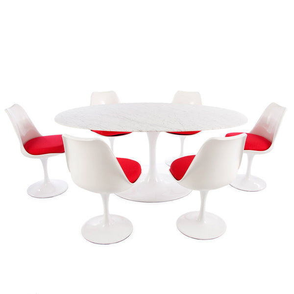 "Saarinen Oval Tulip Table & Chairs Set Replica - 78x47"" Carrara Marble Table & 6 Tulip Side Chairs"