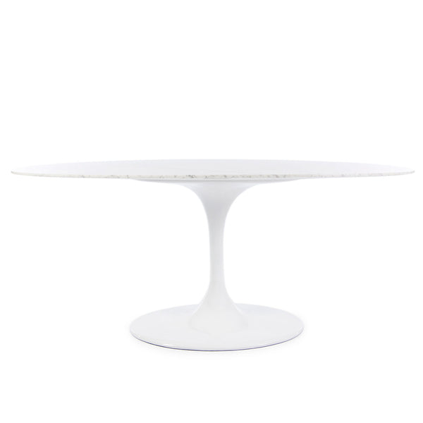 "Saarinen Oval Tulip Table & Chairs Replica Set - 78x47"" Carrara Marble Table & 4 Tulip Side + 2 Tulip Arm Chairs"