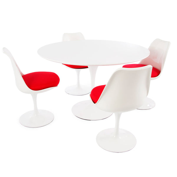 "Saarinen Round Tulip Table & Chairs Set Replica - 47"" White Laminate Table & 4 Tulip Side Chairs"