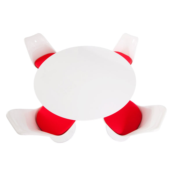 "Saarinen Round Tulip Table & Chairs Set Replica - 35.5"" White Laminate Table & 4 Tulip Side Chairs"