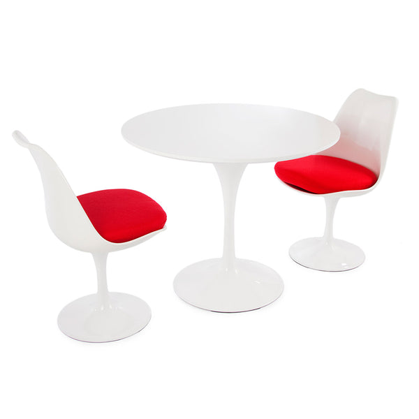 "Saarinen Round Tulip Table & Chairs Set Replica - 35.5"" White Laminate Table & 2 Tulip Side Chairs"