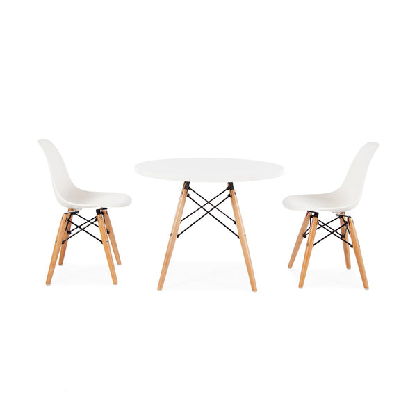 Eames Replica Kids Size Dowel Leg Dining Table & Chairs Set - 2 Chairs & White Laminate Table