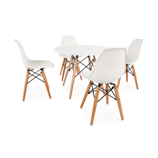 Eames Replica Kids Size Dowel Leg Dining Table & Chairs Set - 4 Chairs & White Laminate Table