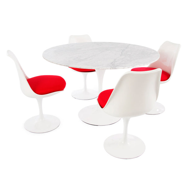 "Saarinen Round Tulip Table & Chairs Set Replica - 47"" Carrara Marble Table & 4 Tulip Side Chairs"