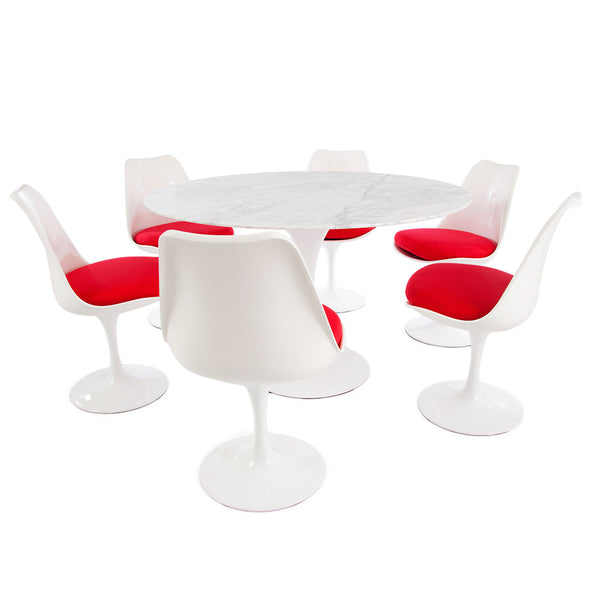 "Saarinen Round Tulip Table & Chairs Set Replica - 47"" Carrara Marble Table & 6 Tulip Side Chairs"