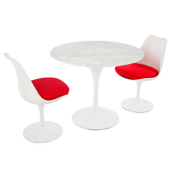 "Saarinen Round Tulip Table & Chairs Set Replica - 35.5"" Carrara Marble Table & 2 Tulip Side Chairs"