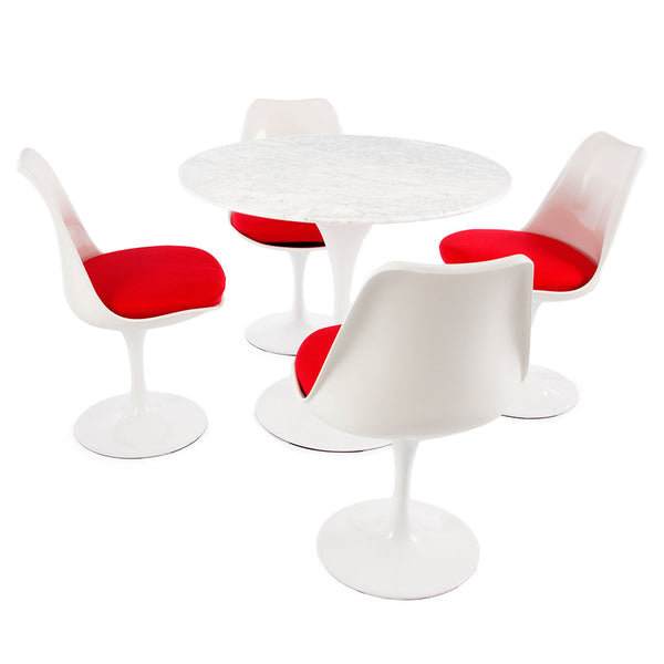 "Saarinen Round Tulip Table & Chairs Set Replica - 35.5"" Carrara Marble Table & 4 Tulip Side Chairs"